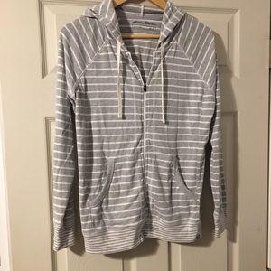 Eddie Bauer gray white striped lightweight hoodieM